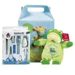Caja con peluche y accesorios para recien nacido