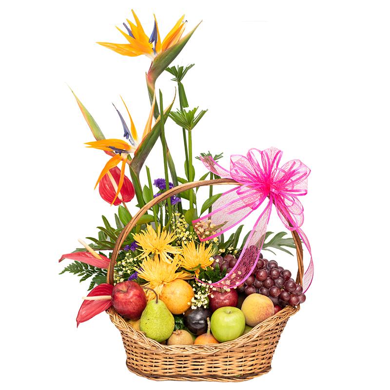 Arreglo de frutas y flores exoticas para regalar