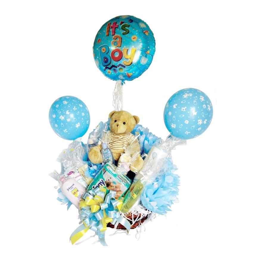 Canastilla con globos para bebe recién nacido