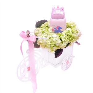bici para niña con flores y termo