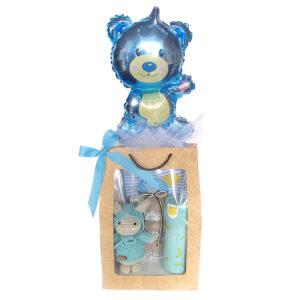 Bolsa de regalo para bebe con muñeco en crochet termo y globo