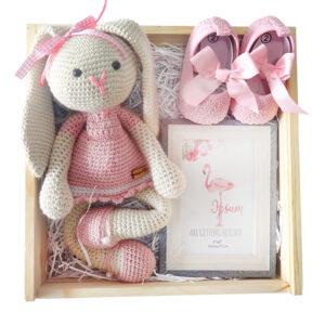 Caja con peluche crochet para bebe