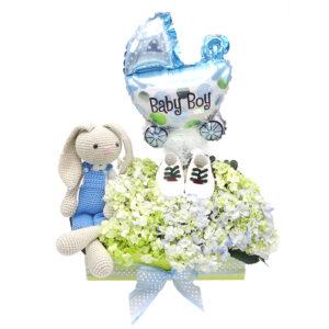 regalo bebe conejo flores y globo