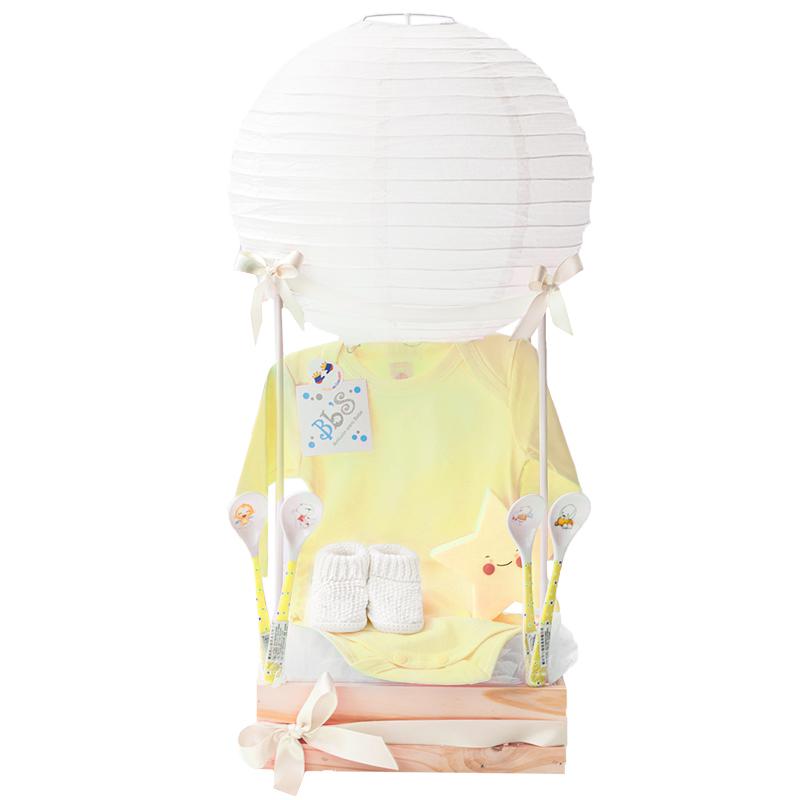 Regalo de bebé con globo chino lampara de estrella y mediecitas Amarillo unisex