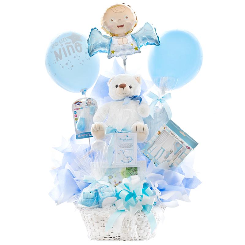 canastilla de nacimiento con oso de peluche body y accesorios para bebe