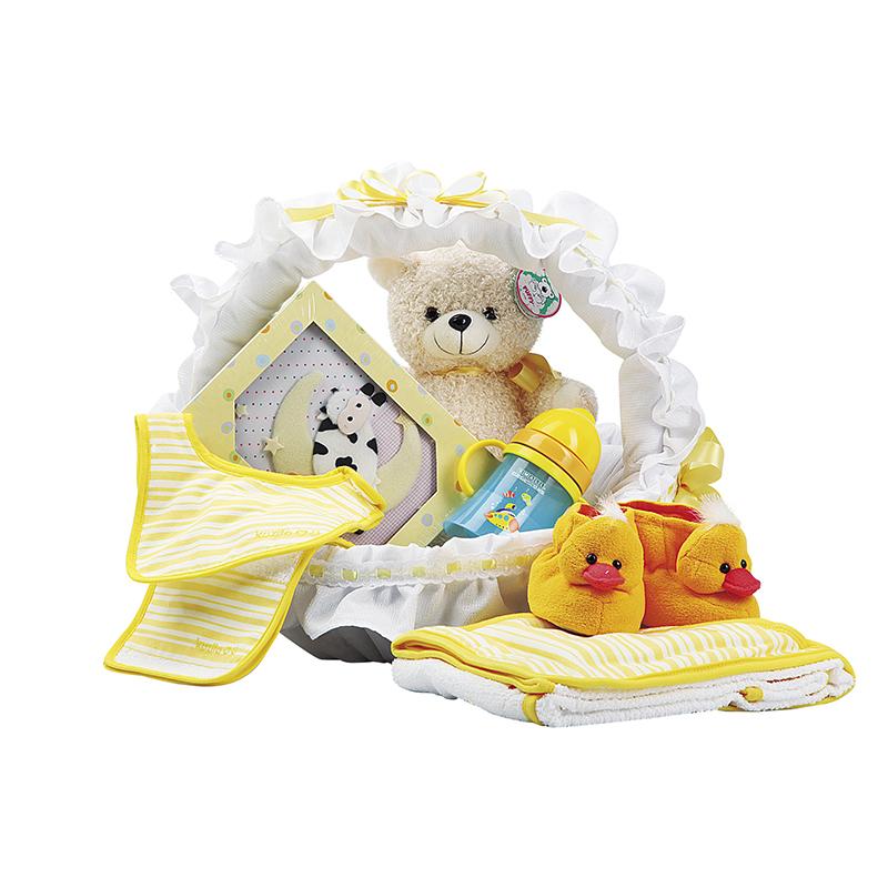 canastilla para bebe con pantuflas y peluche