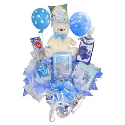 Canasta con globos y peluche para recien nacido