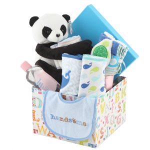 caja para bebe con productos de aseo y peluche panda
