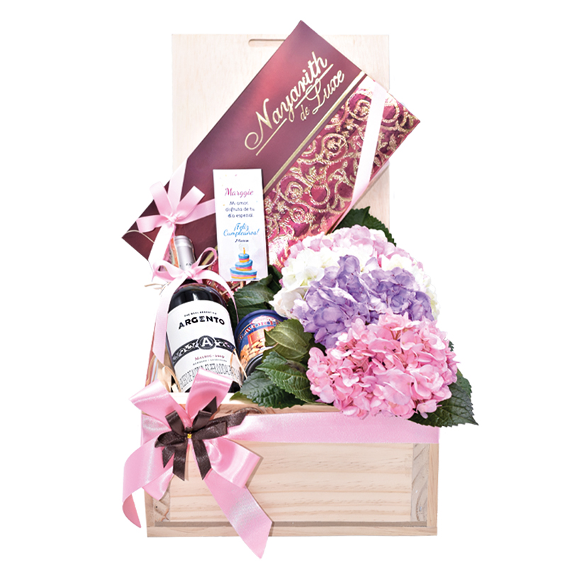 caja de flores hortensias con vino para regalar
