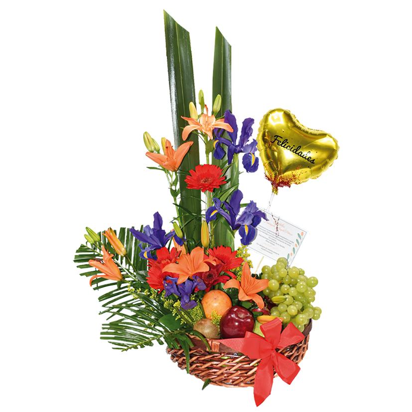 Arreglo de flores y frutas regalo