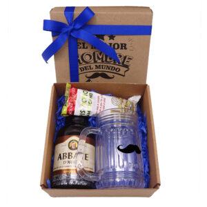 Caja regalo con cerveza y jarro