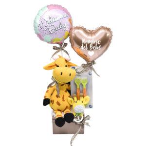 Regalo de nacimiento jirafa y globos