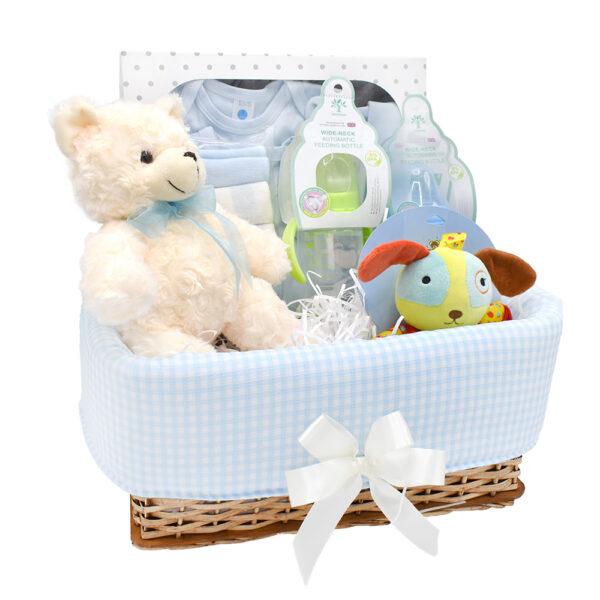 Canastilla de bebe con oso y tetero