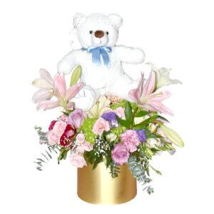 Arreglo de Flores oso bebe