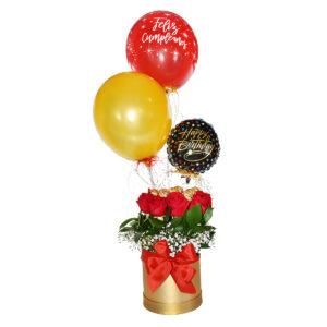 Rosas con ferrero rocher y globos