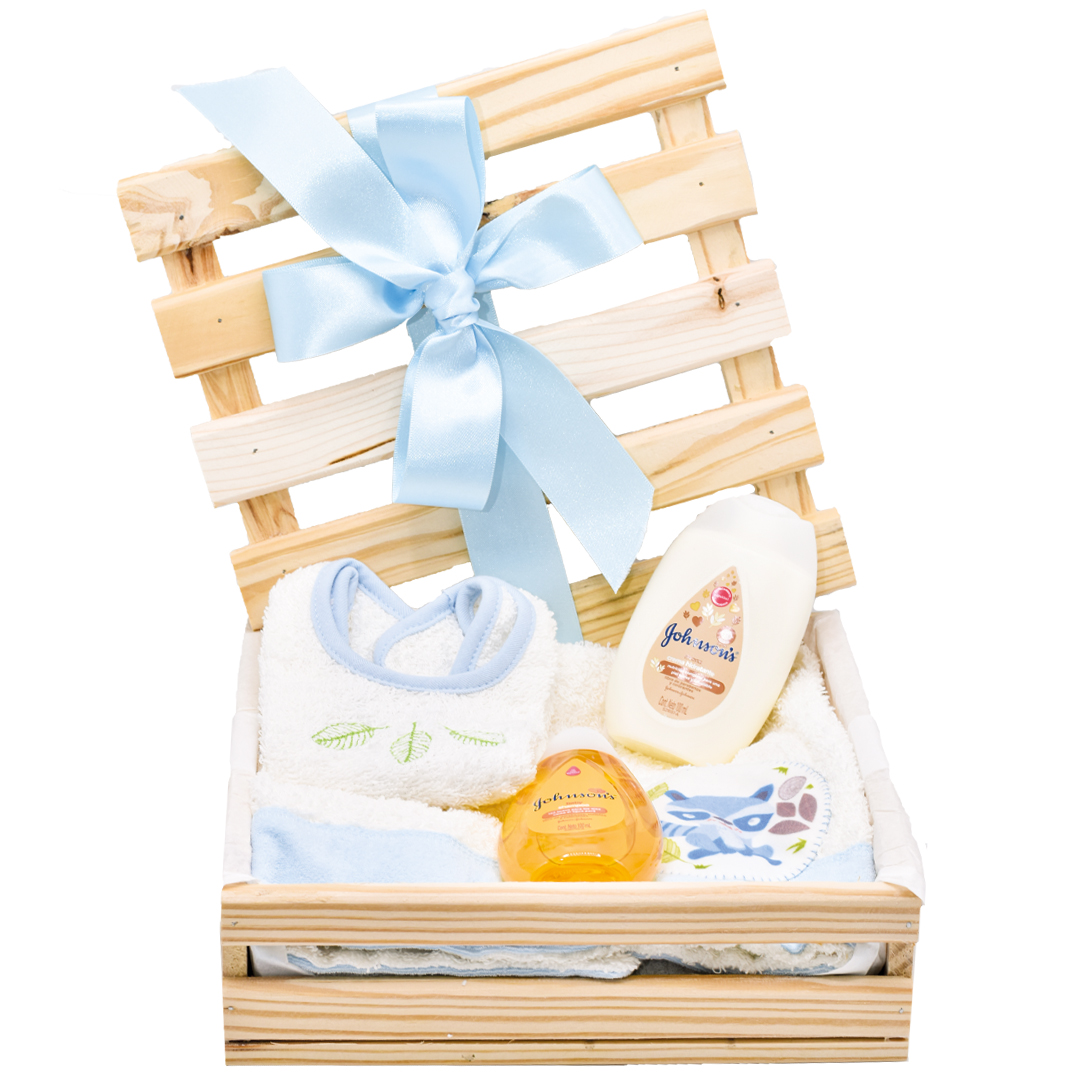 Caja de Regalo para el baño y cuidado del bebe azul