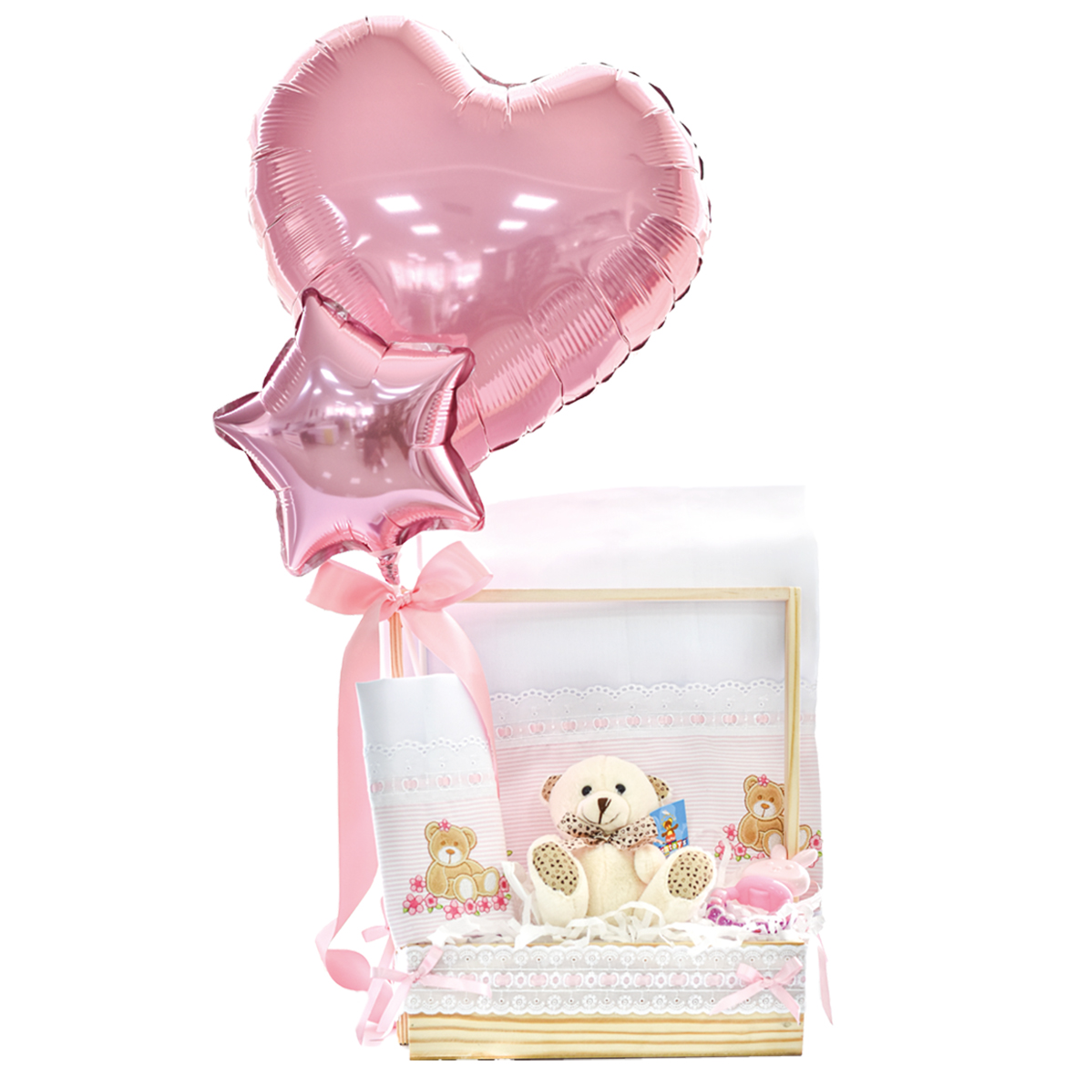 regalo para bebe con peluche de osito rosa