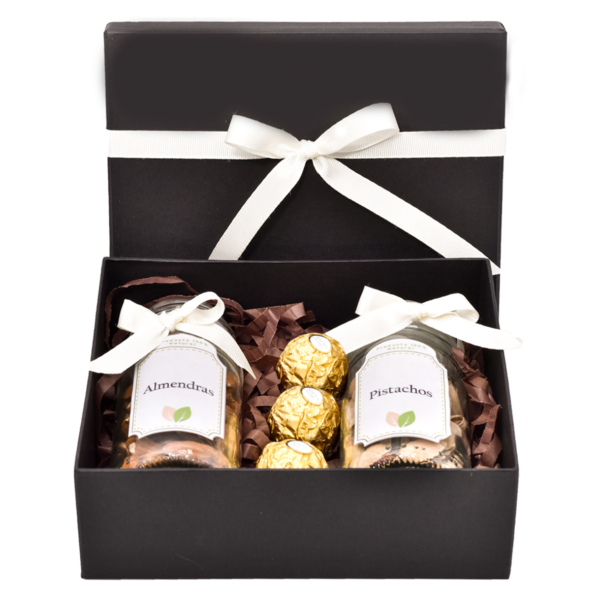 caja de regalo con frutos secos pistachos y almendras