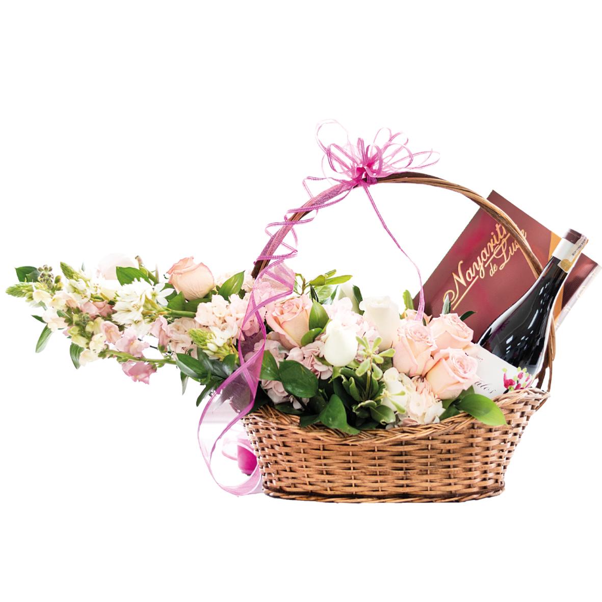 Canasta de Flores vino y chocolates