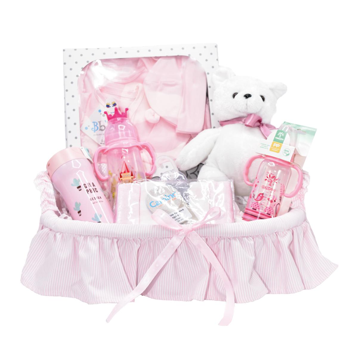 Canastilla para regalo de bebé rosa