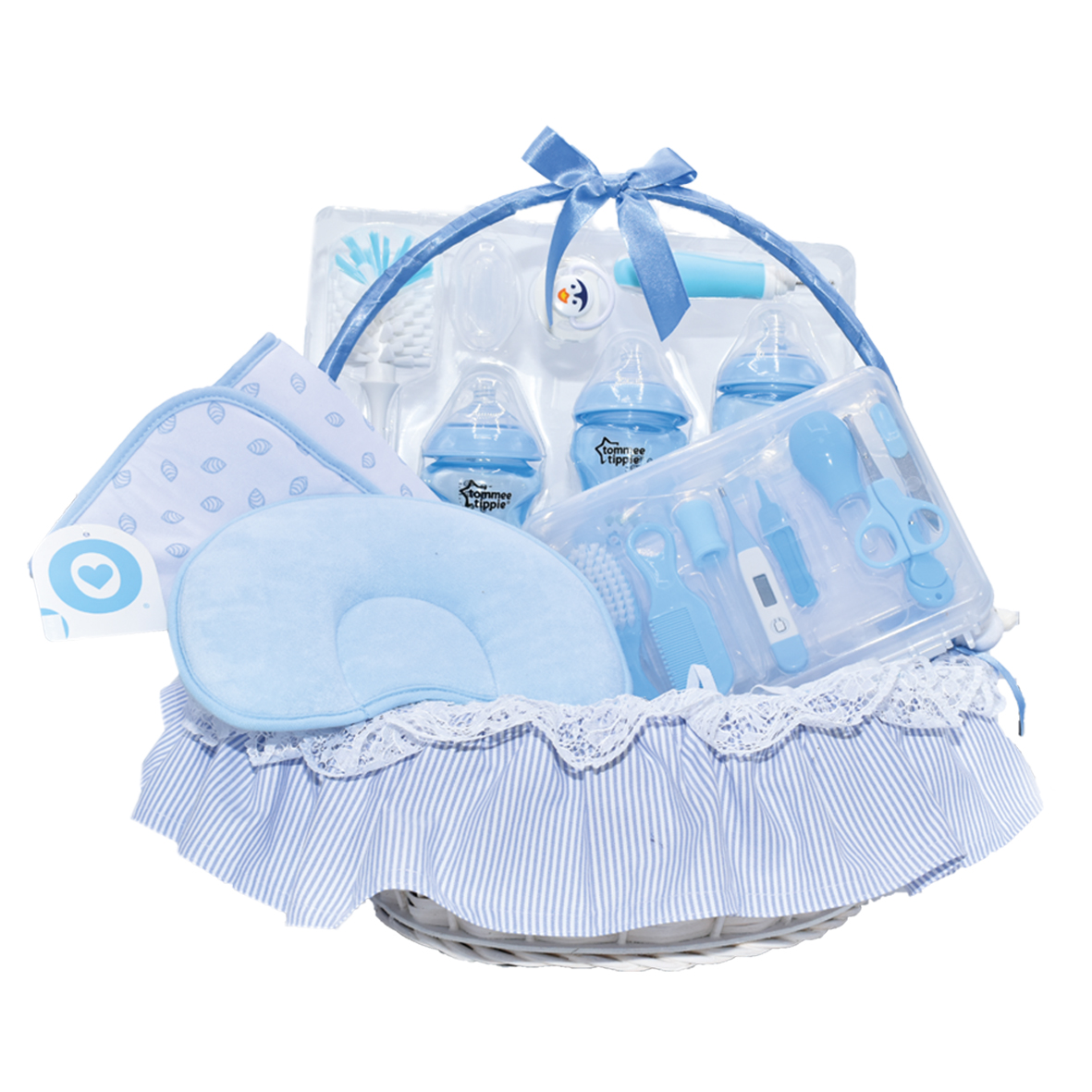 Canastilla para cuidado del bebe azul niño