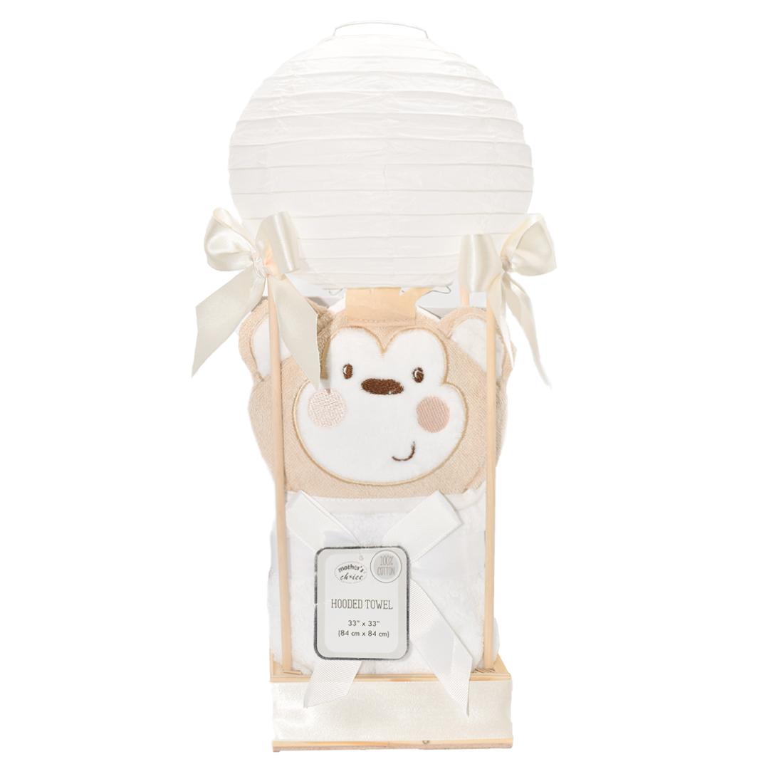 regalo de bebe con toalla en huacal de madera y globo