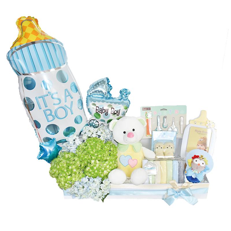 regalo para bebé con hostensias y globos