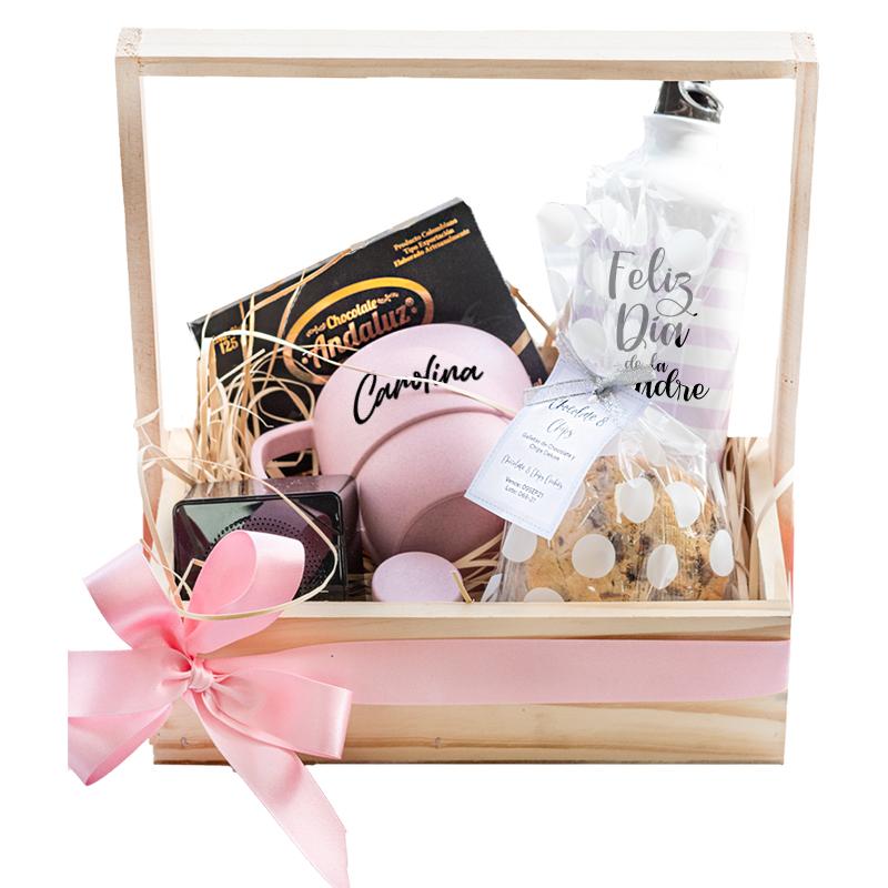 regalo personalizado con mug botilito y chocolate dia de la madre