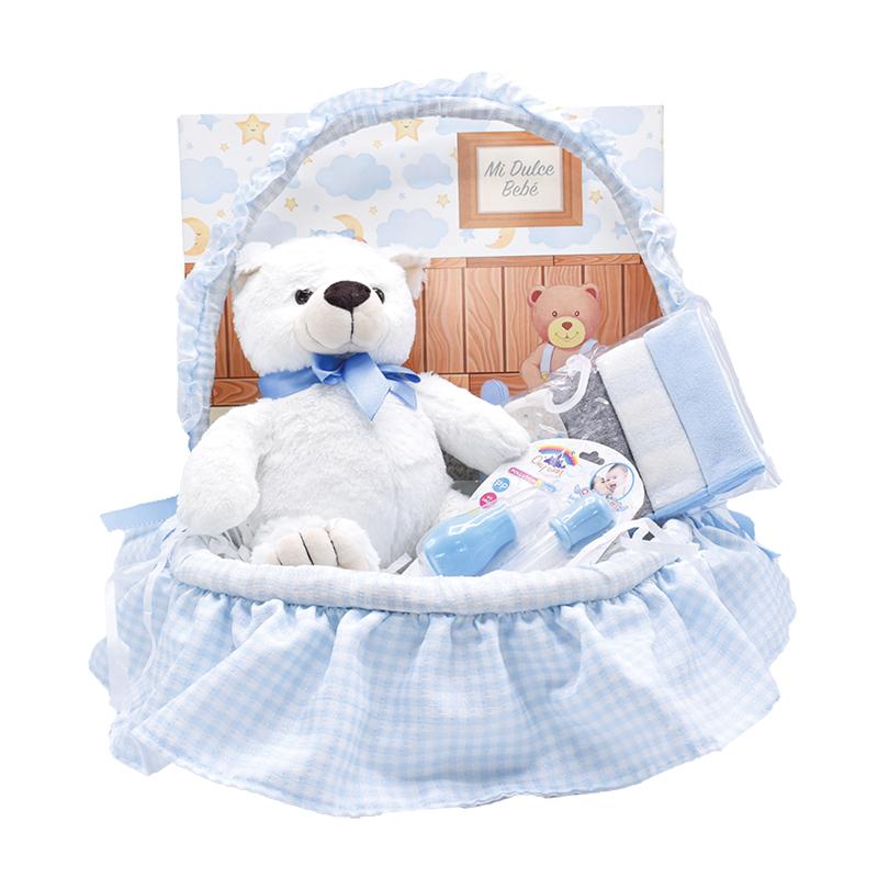 Canastilla para bebé con primera muda cobija y oso