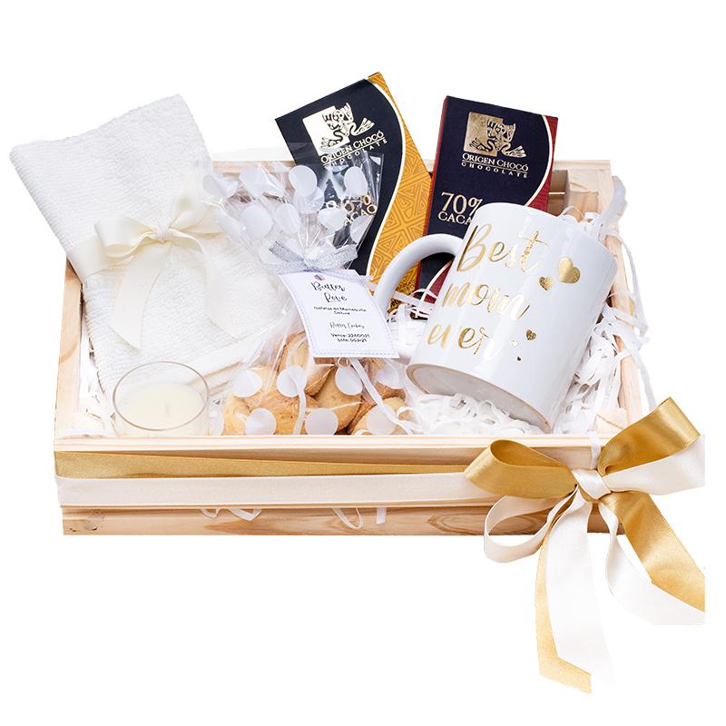regalo para mama con mug personalizado, chocolate galletas y velas