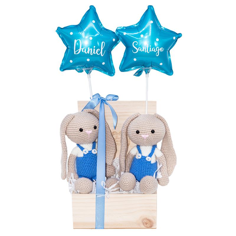 caja de regalo para gemelos con 2 muñecos de peluche y globos