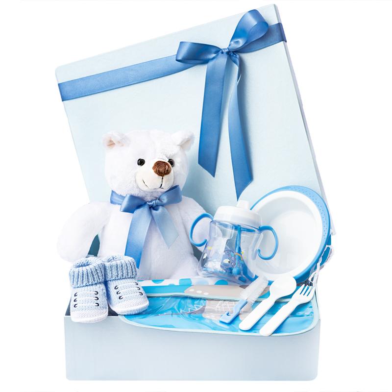 caja de regalo para bebe con oso de peluche vajilla y babero