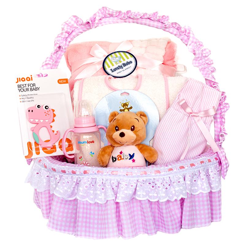 Canastilla para niña con muñeco sonajero mordedor cobija y toalla