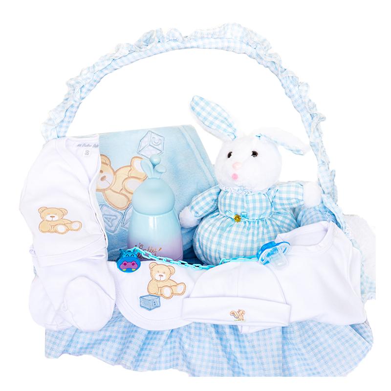 Canastilla para niño con peluche de conejo y primera muda con cobija