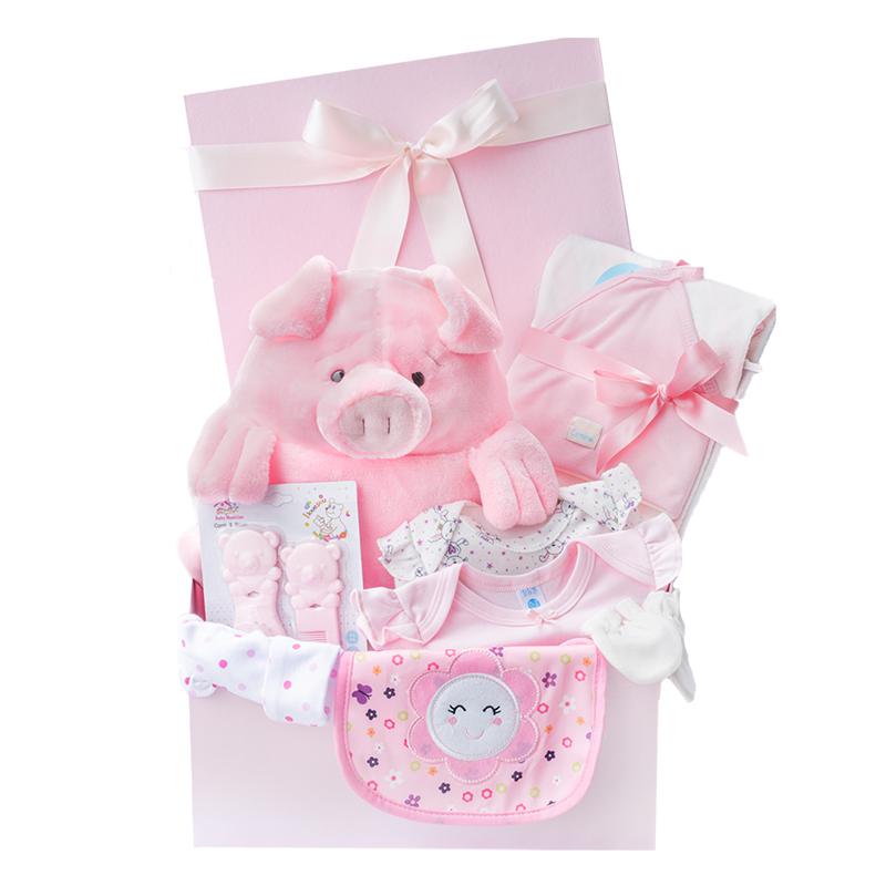 Caja para bebe con peluche de cerdito babero bodys y toalla