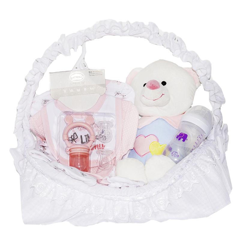Canastilla para bebe con peluche tetero y primera muda para bebe