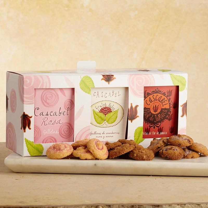 caja de trio de galletas cascabel para regalar